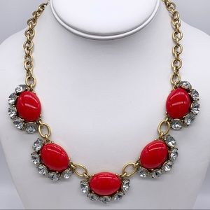 Stella & Dot Mae Red Cabachon & Crystal Necklace